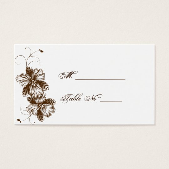 Coffee and White Floral Spray Wedding Place Cards