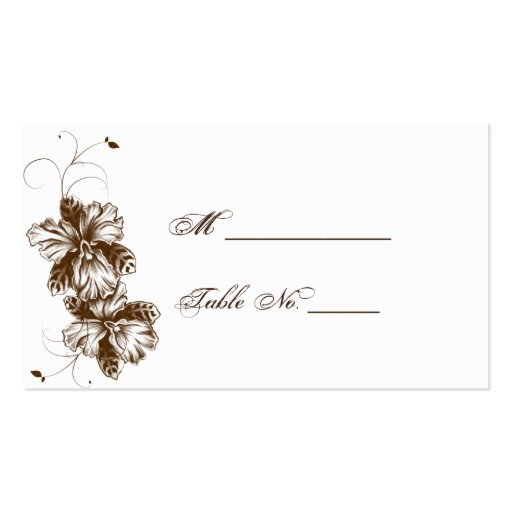 Coffee and White Floral Spray Wedding Place Cards Double-Sided Standard Business Cards (Pack Of 100)