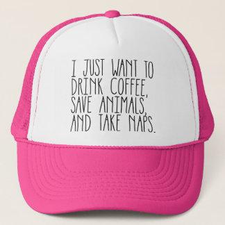 Coffee Animals & Naps Hot Pink Trucker Hat
