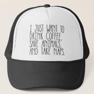coffee animals naps trucker hat