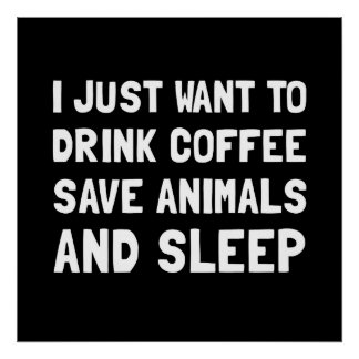 Coffee Animals Sleep Poster