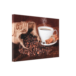 Coffee Aroma Watercolor Print Wall Art Gallery Wrap Canvas