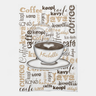 Coffee Around the World Name Hand Towel