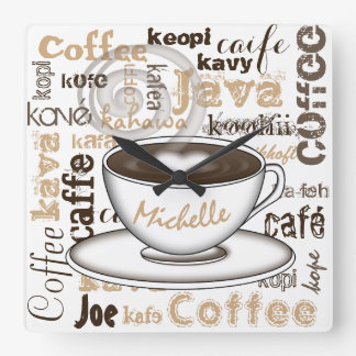 Coffee Around the World Name Square Wall Clock