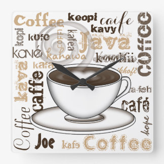 Coffee Around the World Square Wall Clock