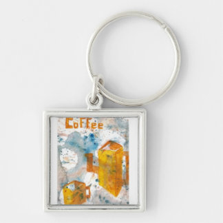 Coffee Art Folk Style - Squared Silver-Colored Square Keychain