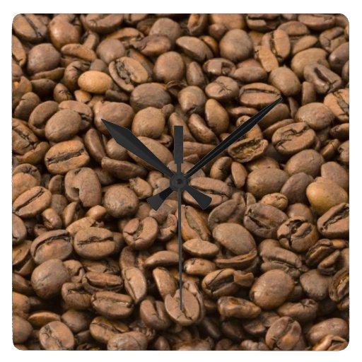 Coffee Background Square Wall Clocks