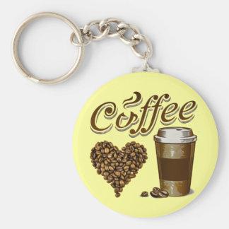 Coffee Basic Round Button Keychain