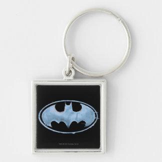 Coffee Bat Symbol - Blue Silver-Colored Square Keychain