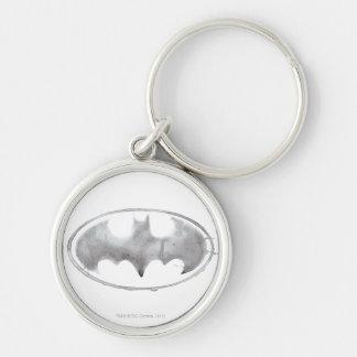 Coffee Bat Symbol - Gray Silver-Colored Round Keychain