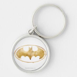 Coffee Bat Symbol Silver-Colored Round Keychain