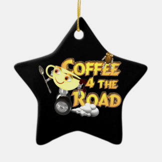 Coffee bean for the road by Valxart.com Double-Sided Star Ceramic Christmas Ornament