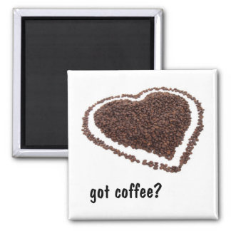 Coffee Bean Heart 2 Inch Square Magnet