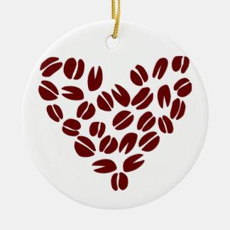 Coffee Bean Heart Ceramic Ornament