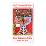 Coffee Bean Label - Cat Goddess Drinking Espresso