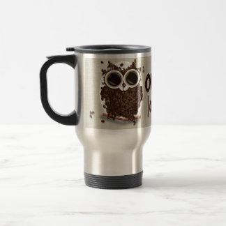 Coffee Bean Owl Art 15 Oz Stainless Steel Travel Mug