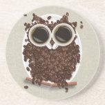 Coffee Bean Owl Beverage Coaster
