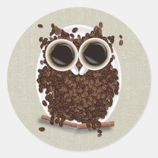 Coffee Bean Owl Classic Round Sticker
