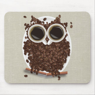Coffee Bean Owl Mouse Pad