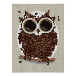 Coffee Bean Owl Poster Art