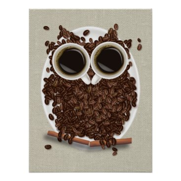 Coffee Themed Coffee Bean Owl Poster Art