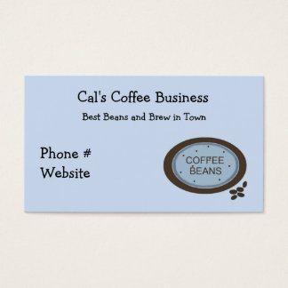 Coffee Bean Sign in Blue and Brown Business Card