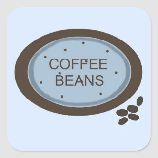 Coffee Bean Sign in Blue and Brown Square Sticker