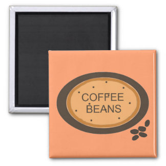 Coffee Bean Sign in Orange and Brown Magnet