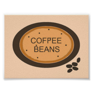 Coffee Bean Sign in Orange and Brown Posters