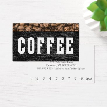 Coffee Themed Coffee Bean Top Stripe Letterpress Punchcard Business Card