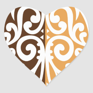 Coffee Bean with Maori Motif Heart Sticker