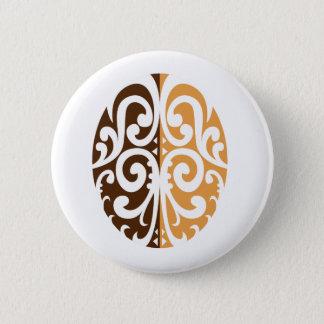 Coffee Bean with Maori Motif Pinback Button