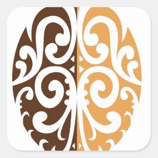 Coffee Bean with Maori Motif Square Sticker