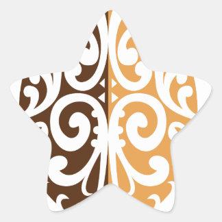 Coffee Bean with Maori Motif Star Sticker