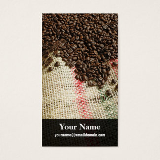 coffee beans and canvas sack business card
