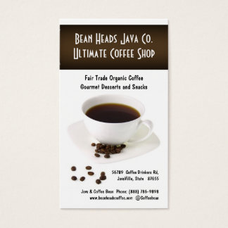 Coffee Beans and  Fresh Cup of Coffee Business Card
