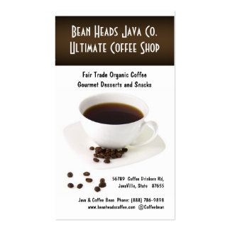 Coffee Beans and  Fresh Cup of Coffee Business Card Template