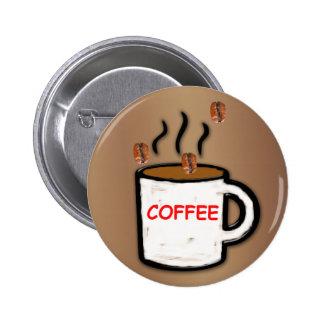Coffee Beans and Mug Pinback Button