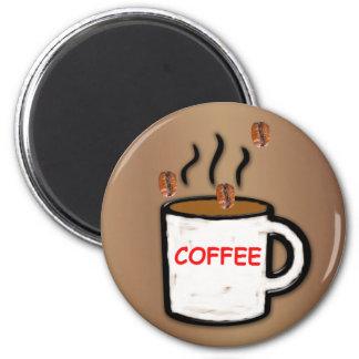 Coffee Beans and Mug Refrigerator Magnets