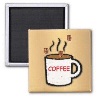 Coffee Beans and Mug Fridge Magnets