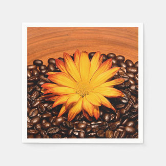 Coffee Beans and Yellow Daisy Disposable Napkin
