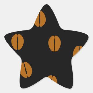 Coffee beans background star sticker