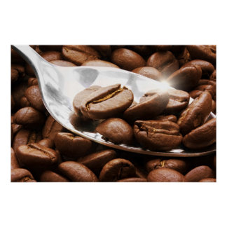 Coffee beans close up on a spoon with sunlight ref poster