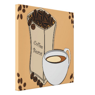 Coffee Beans Coffee Cup Design Canvas Canvas Print