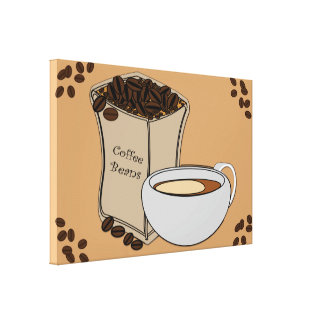 Coffee Beans Coffee Cup Design Canvas