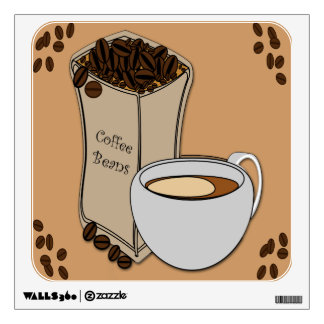 Coffee Beans Coffee Cup Design Wall Decal