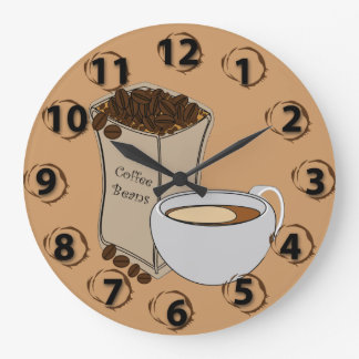 Coffee Beans Coffee Cup Round Wall Clock