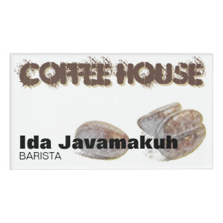 """""""coffee beans"""" Coffee House Magnetic Name Tag"""