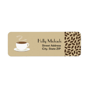 2975a5d21d51 Coffee Beans   Cup Of Coffee Address Labels