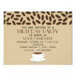 Coffee Beans & Cup Of Coffee Birthday Invitations